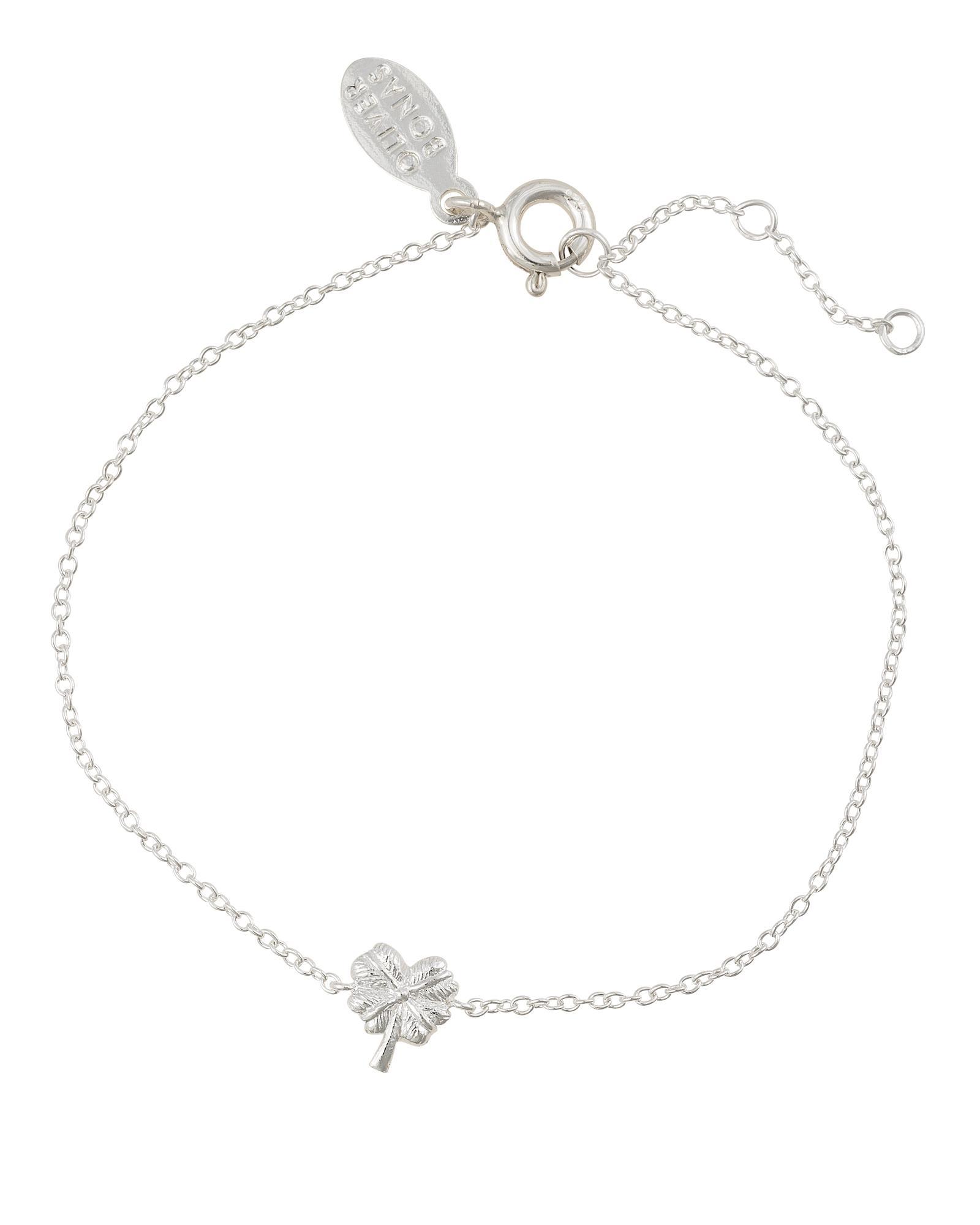 c11151404 Lyst - Oliver Bonas Four Leaf Clover Silver Charm Bracelet in Metallic