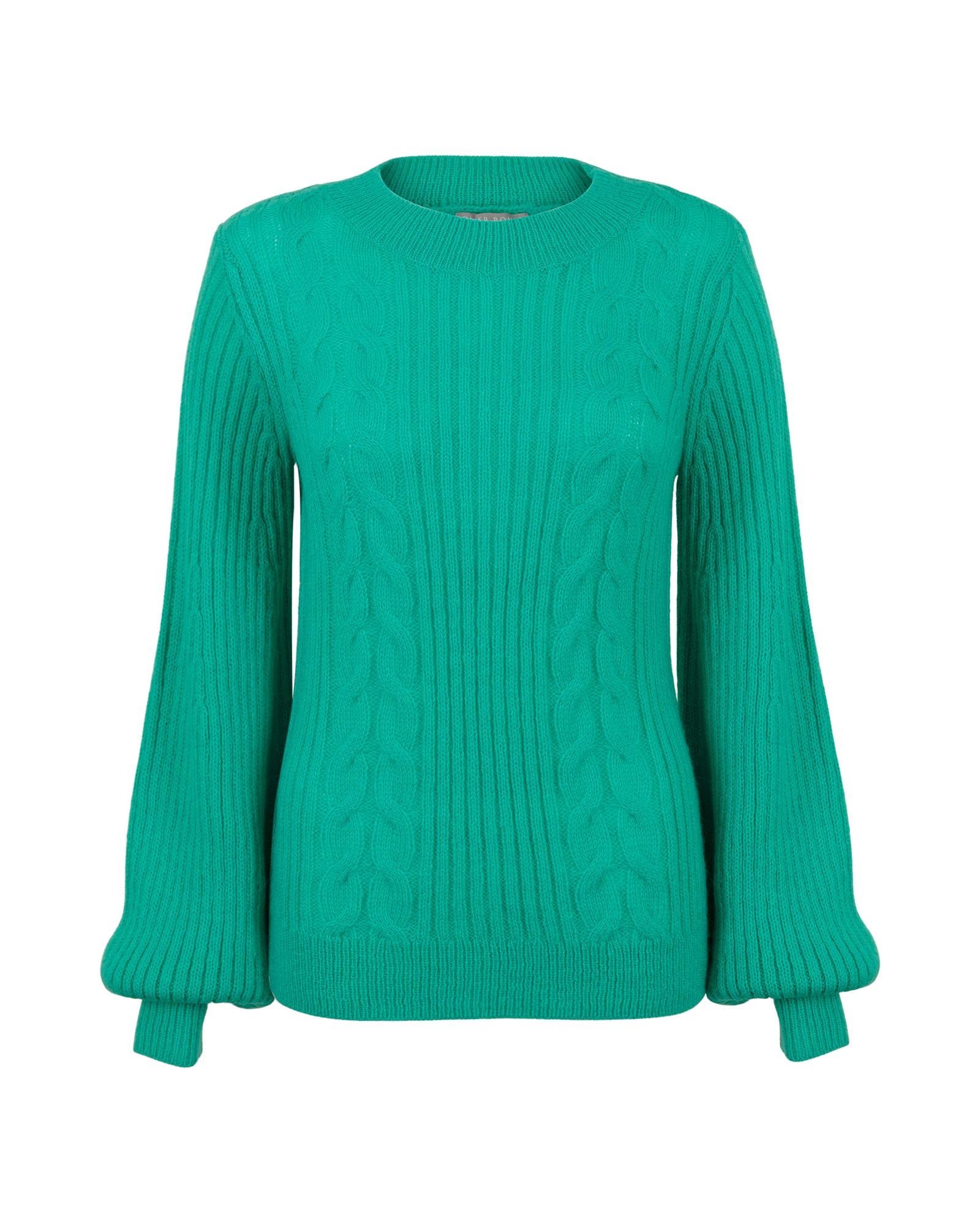 0c12a6e853 Lyst - Oliver Bonas Works Green Cable Knit Sweater in Green