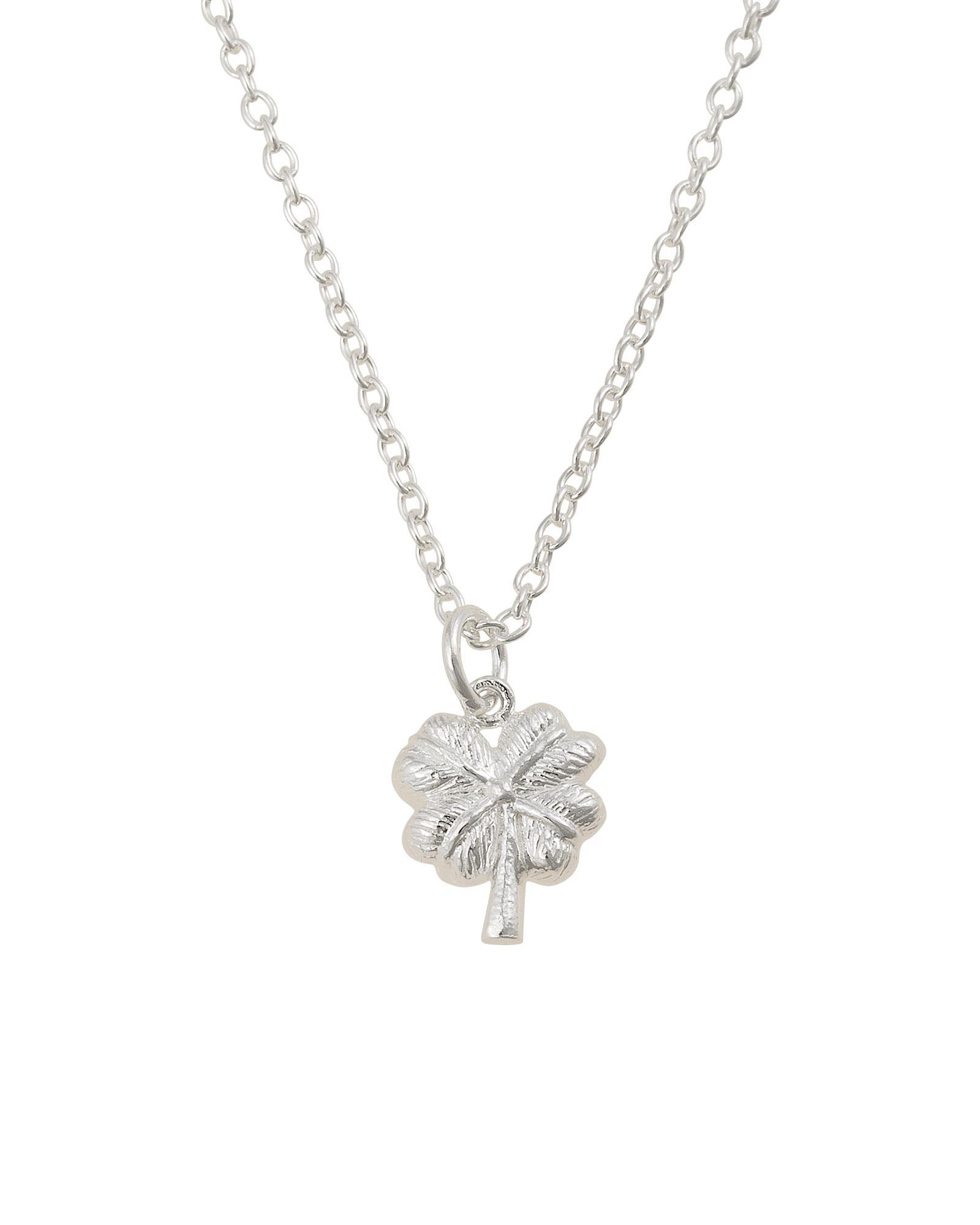b77d6b2b0 Oliver Bonas Four Leaf Clover Silver Pendant Necklace in Metallic - Lyst