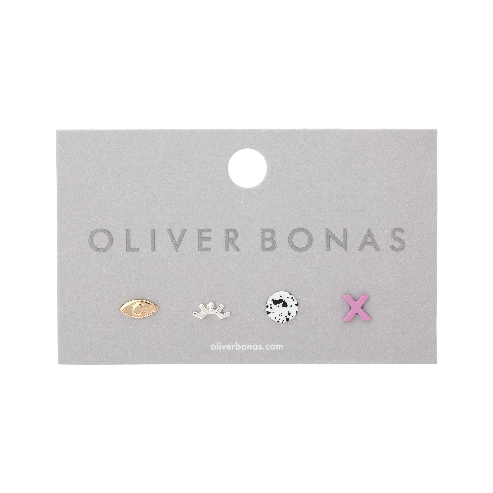 Lyst - Oliver Bonas Playful Mixed Stud Earrings Set Of Four in Metallic