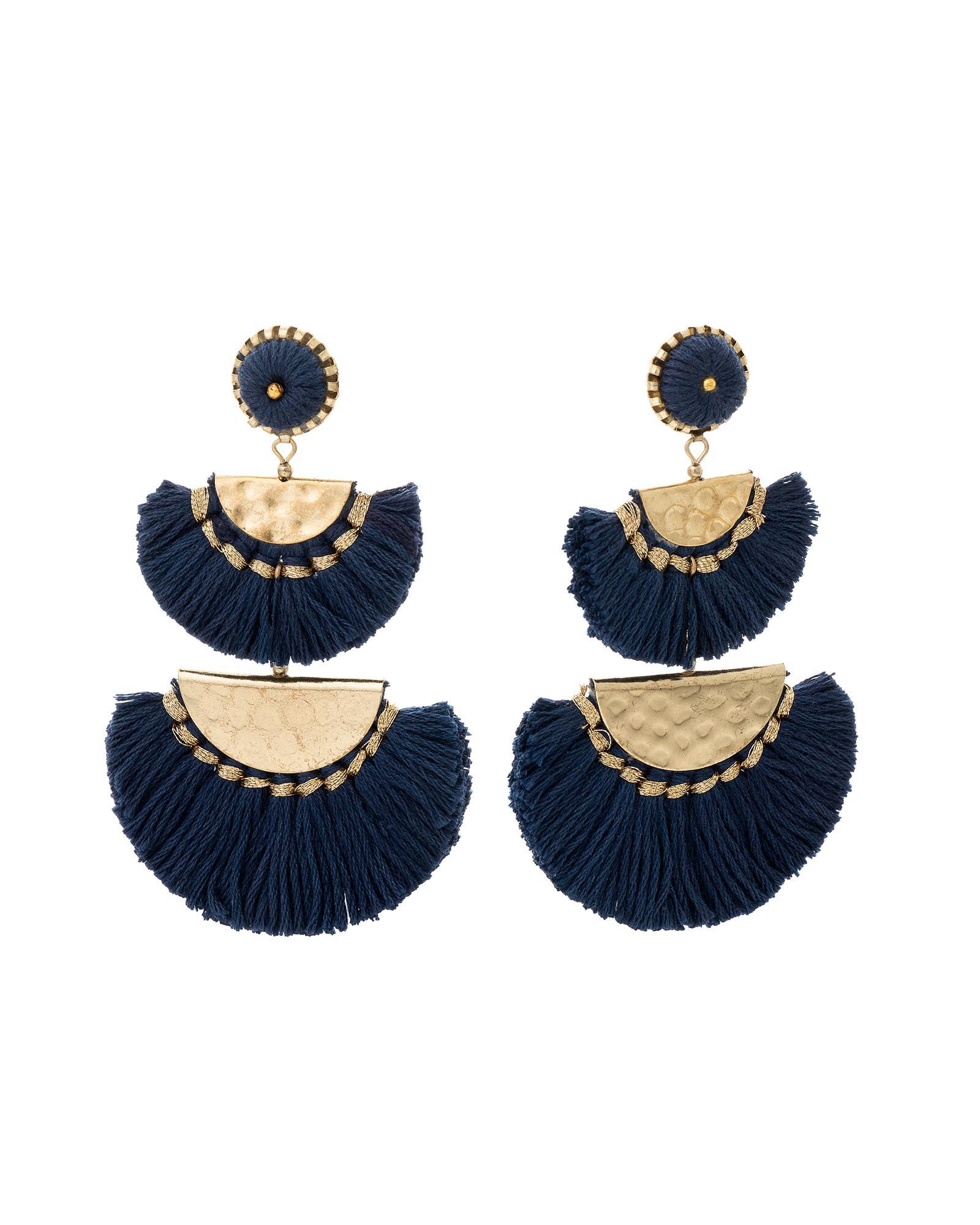 c8e73e067c6 Lyst - Oliver Bonas Beatrice Half Moon Statement Tassel Earrings in Blue