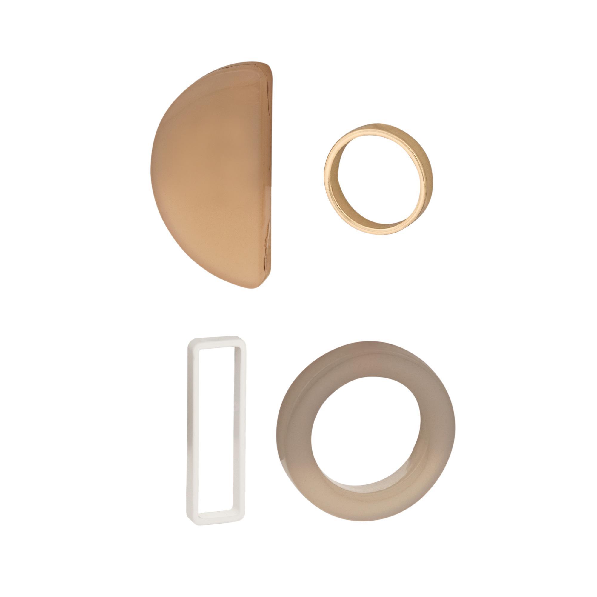Lyst - Oliver Bonas Ayodele Geo Shape Stud Earrings Set Of Four in Brown