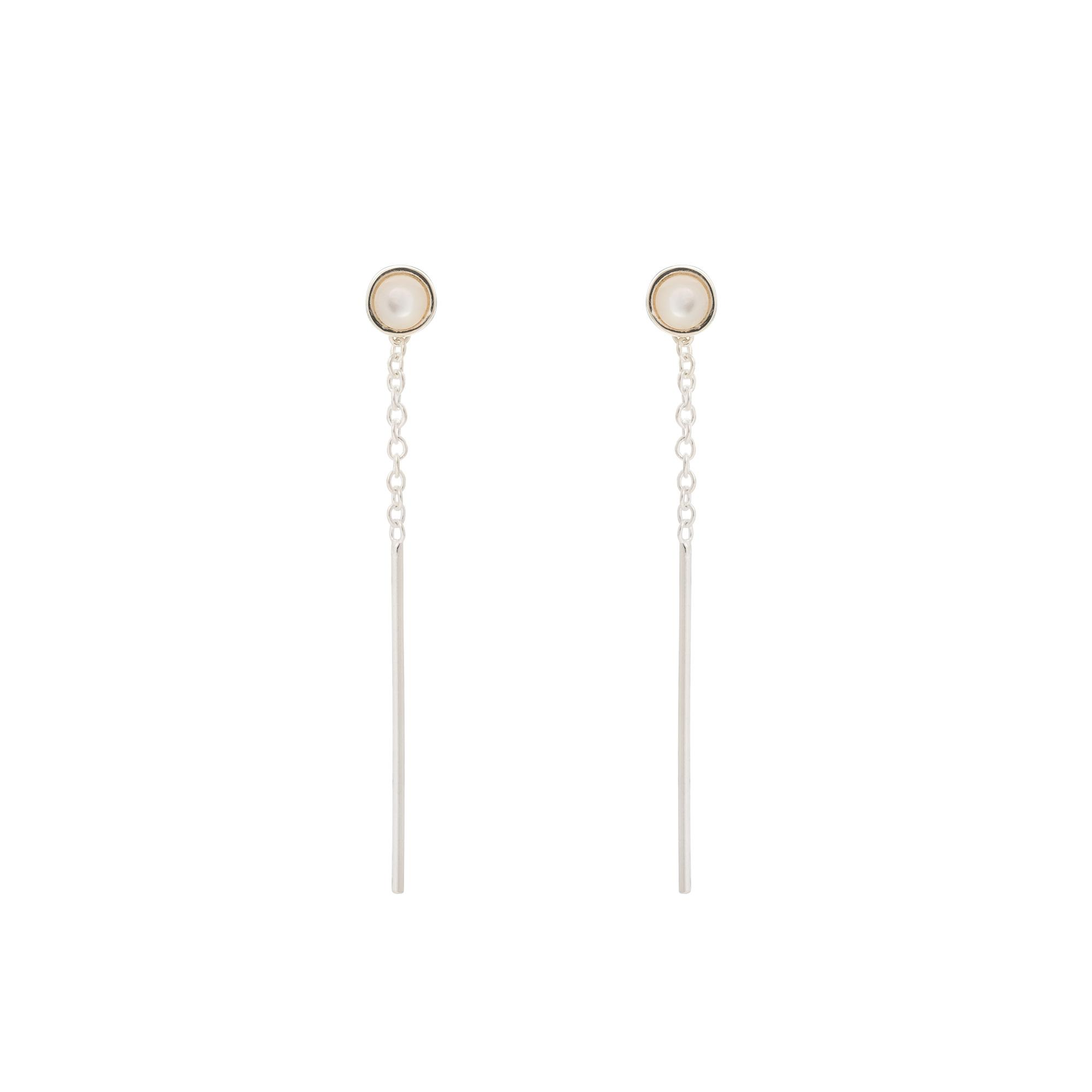 Oliver Bonas Cut Stone Silver Thread Through Earrings in Metallic - Lyst