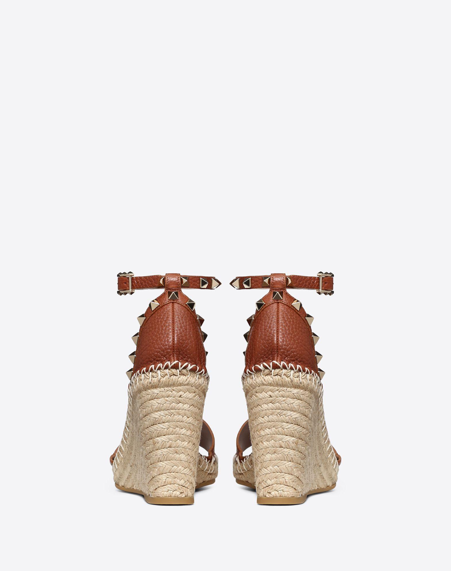 8f8465a57f05c ... Calfskin Leather Rockstud Double Wedge Sandal 95mm - Lyst. View  fullscreen