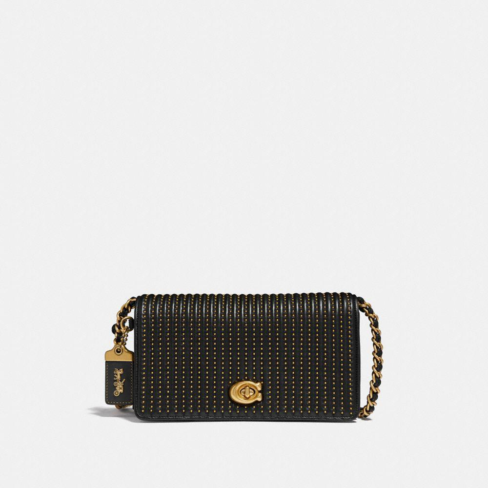 19a87f7fc23 Lyst - COACH Dinky With Quilting And Rivets in Black