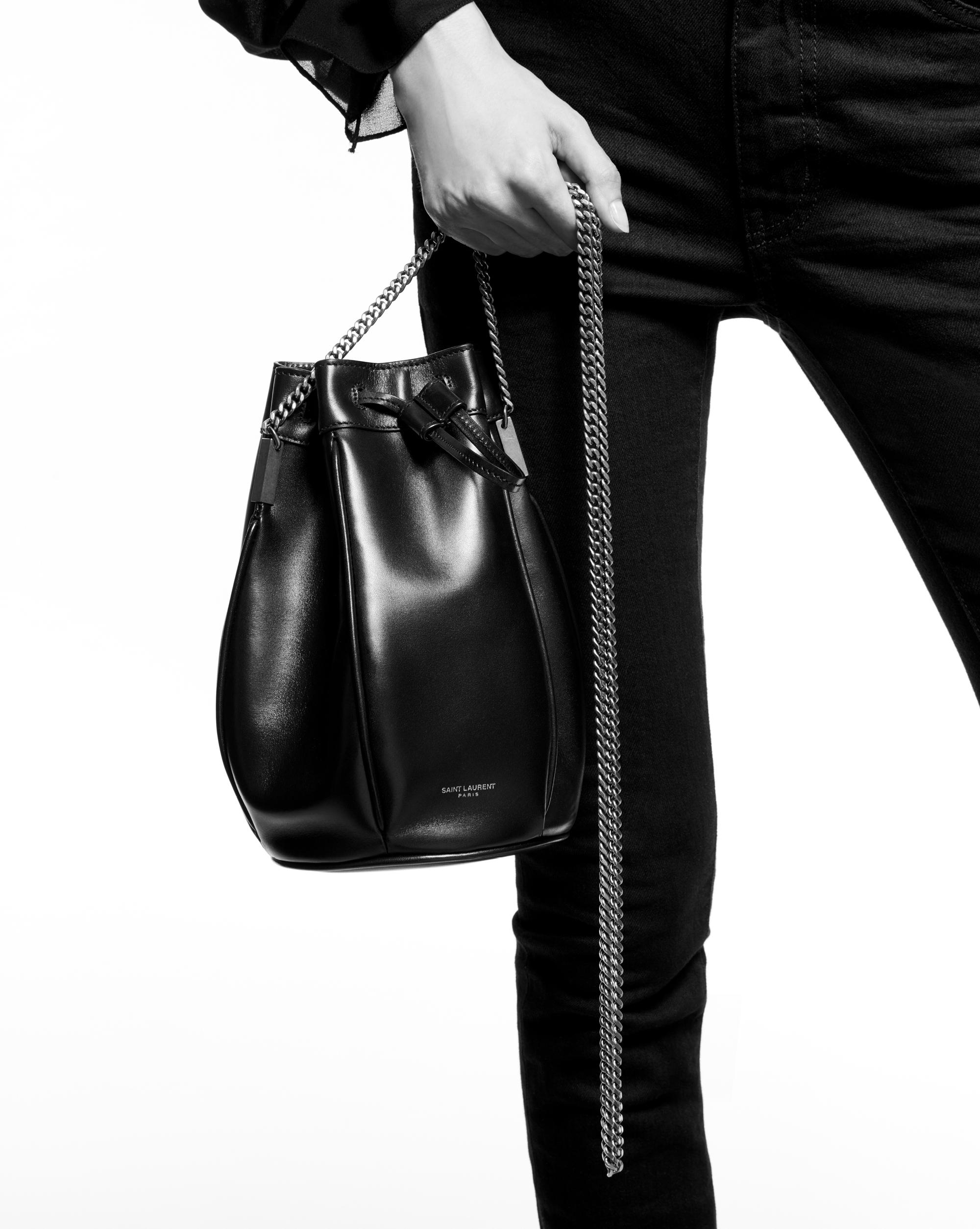 225437afcd87 Lyst - Saint Laurent Talitha Small Bucket Bag in Black