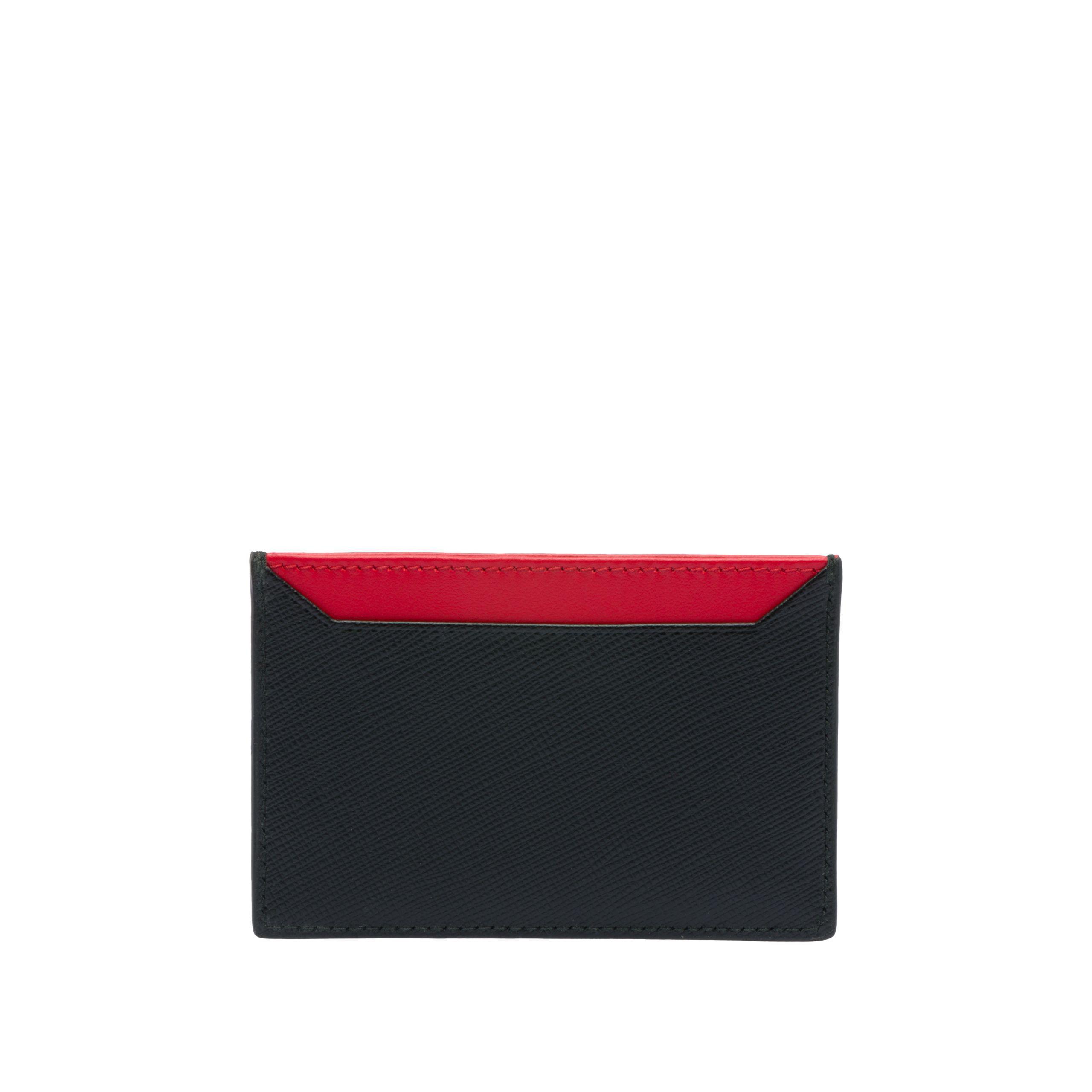 68391ded5904 Prada Malia Saffiano Leather Card Holder in Red - Lyst