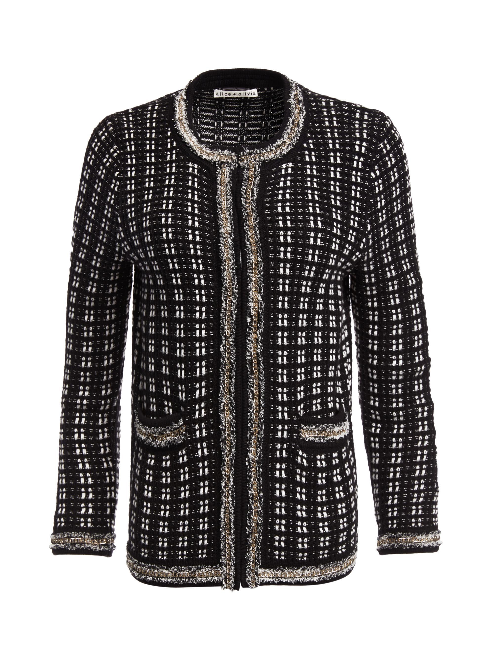 Lyst - Alice + Olivia Georgia Gold Chain Sweater Jacket in Black af3750933