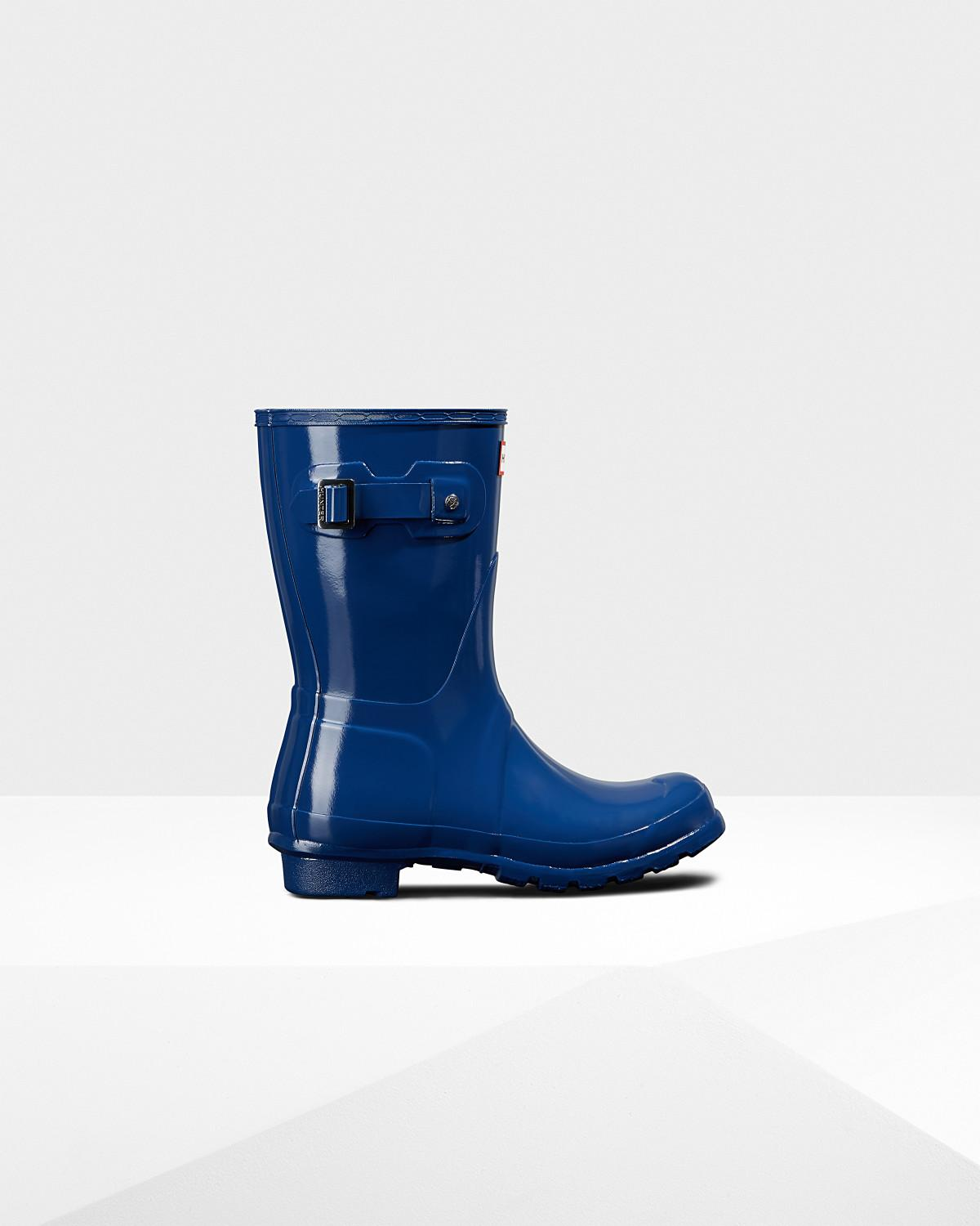 f0283786d66 Lyst - HUNTER Women s Original Short Gloss Rain Boots in Blue