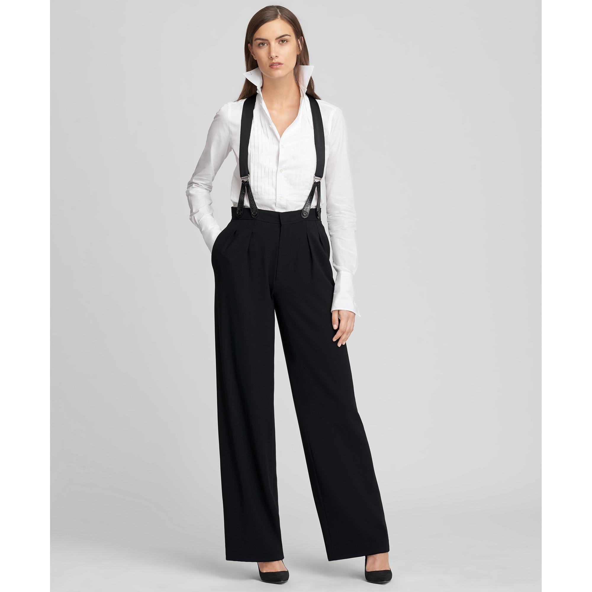 5362a242e6805 Lyst - Ralph Lauren Collection Haden Wool Crepe Wide-leg Pant in Black