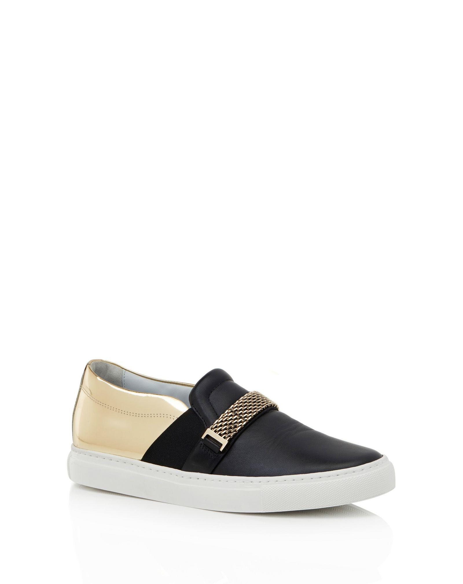 9e970de7f43e Lyst - Lanvin Slip-on Sneaker With Chain in Black
