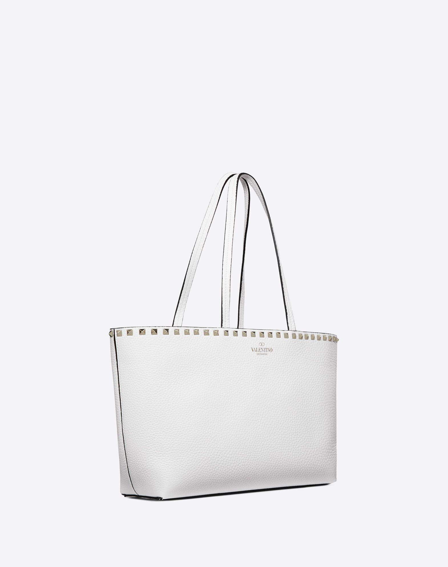 fe3be4c57 Valentino Small Rockstud Shopper in White - Lyst