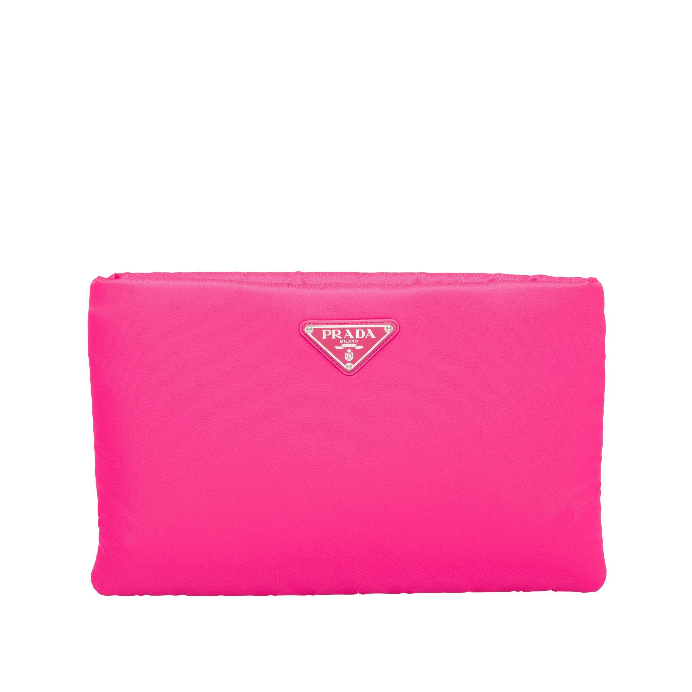 fd43170f4e90 Prada - Pink Medium Padded Nylon Clutch - Lyst. View fullscreen