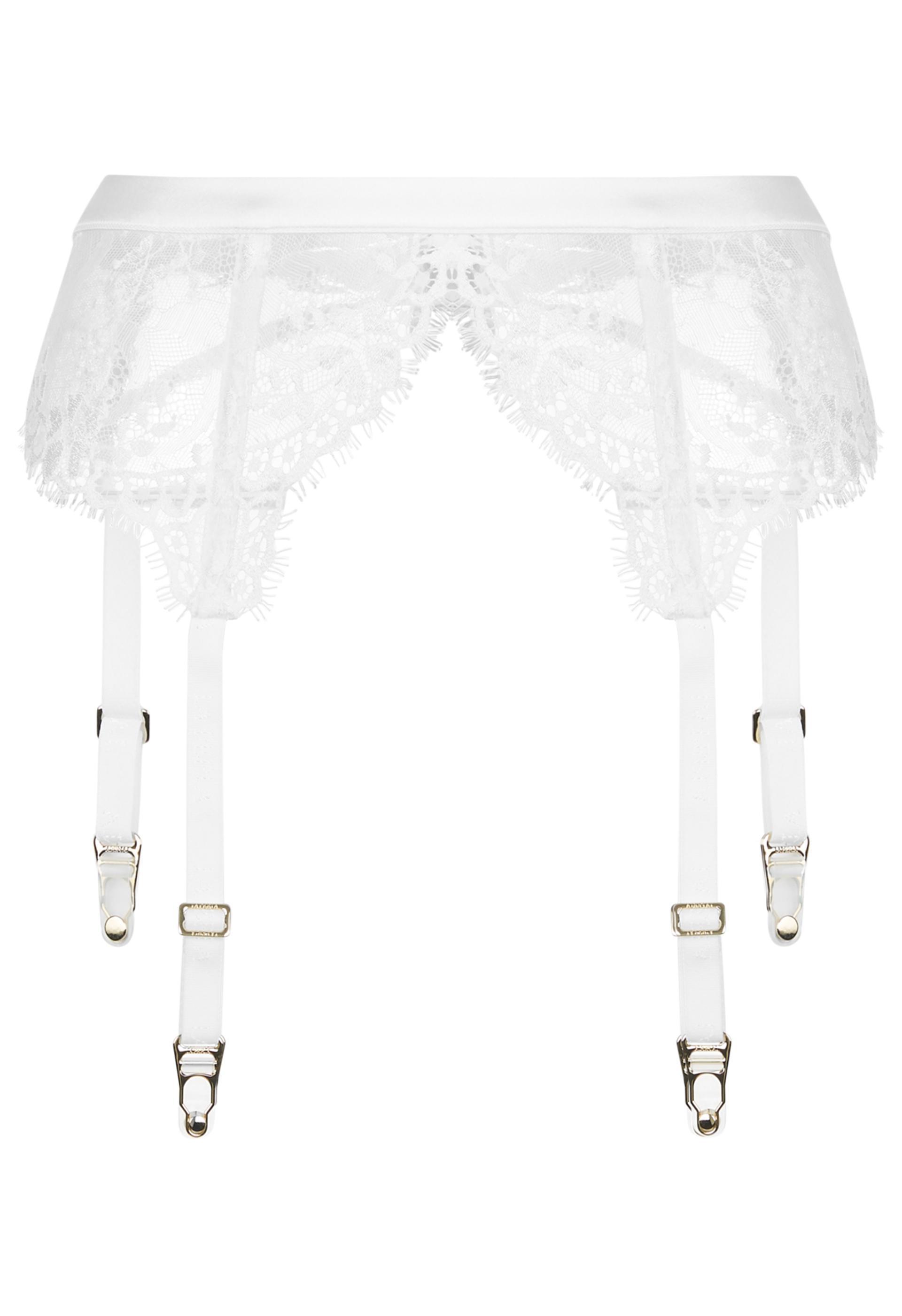7ea9fec81 ... Exotique Off-white Leavers Lace Suspender Belt - Lyst. View fullscreen