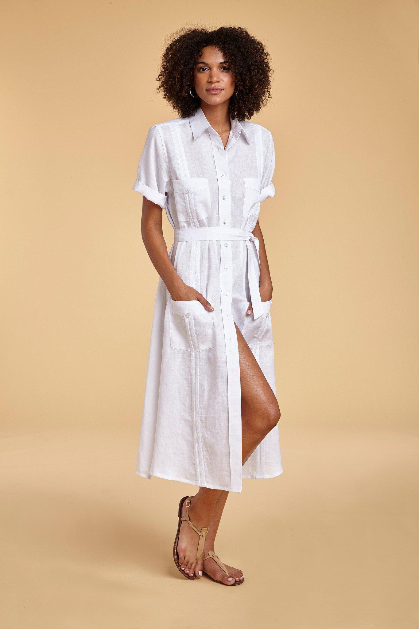 ca83311fc8 Lyst - Miguelina Guayabera Soft Linen Shirt-dress in Blue