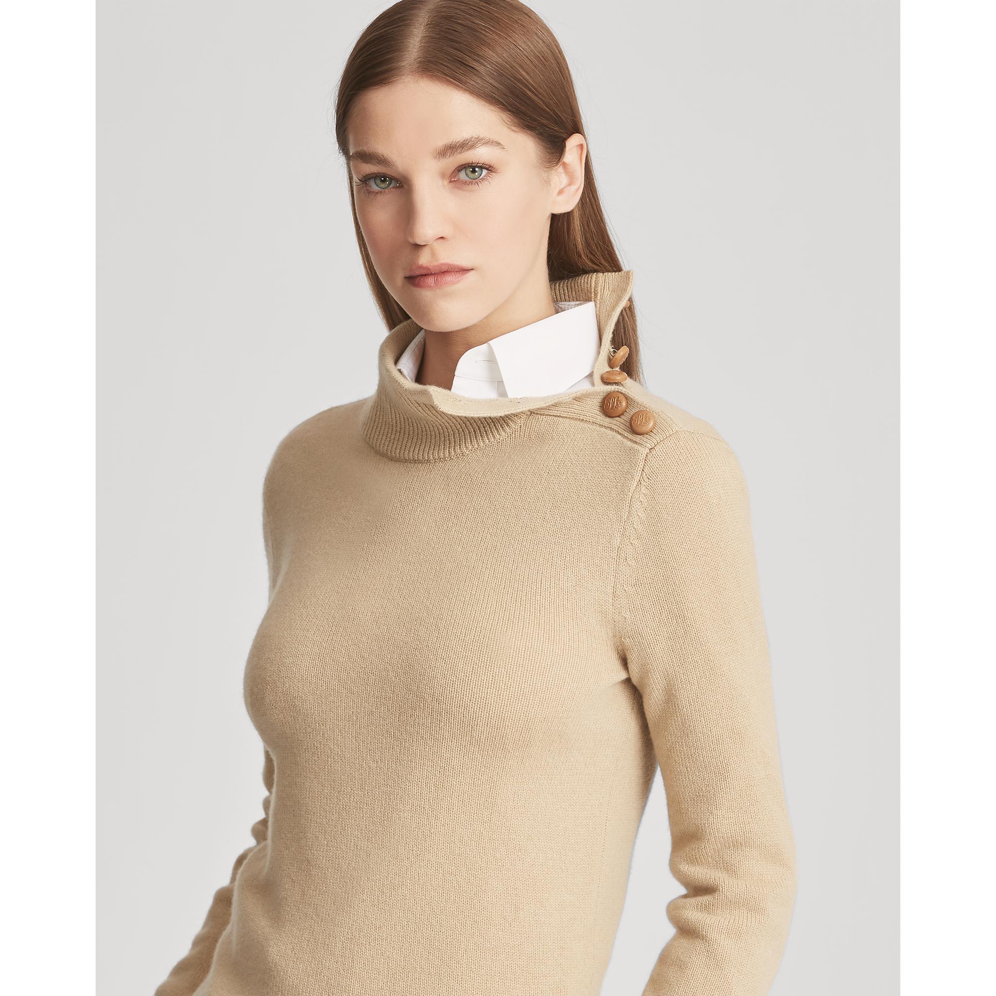 26e458eae630e0 Lyst - Ralph Lauren Collection Button Cashmere Turtleneck
