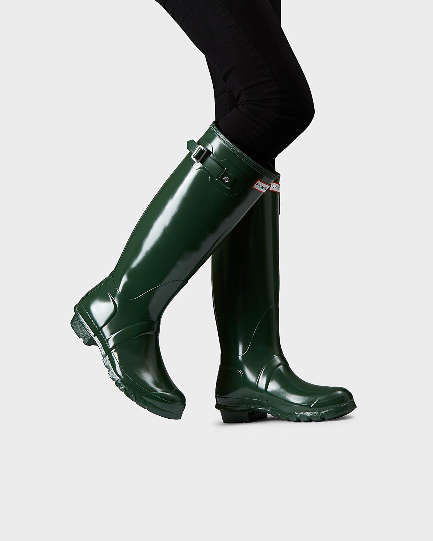 007dec74f3db Lyst - HUNTER Women s Original Tall Gloss Rain Boots in Green