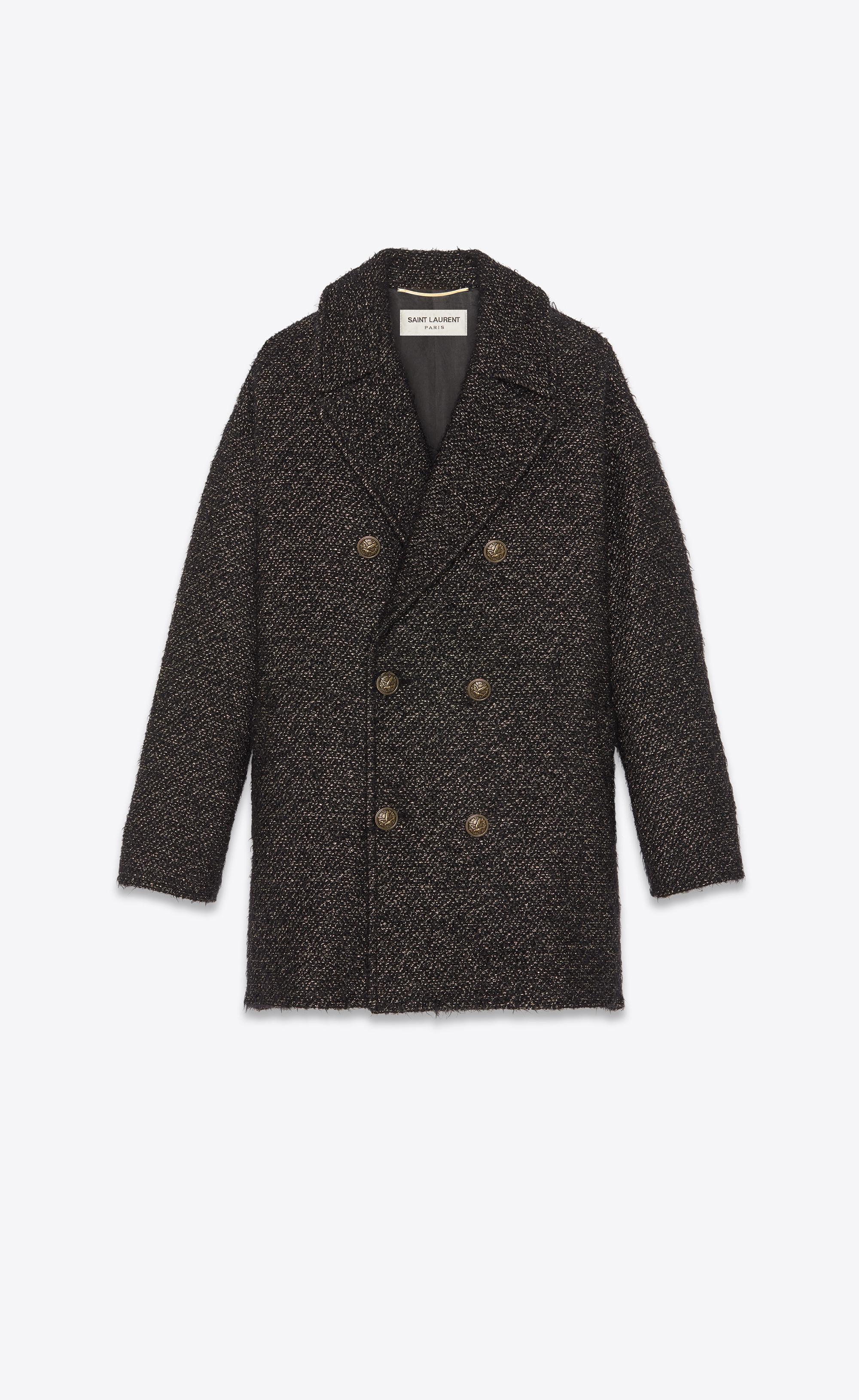 6bdc4a8985f Lyst - Saint Laurent Pea Coat in Black
