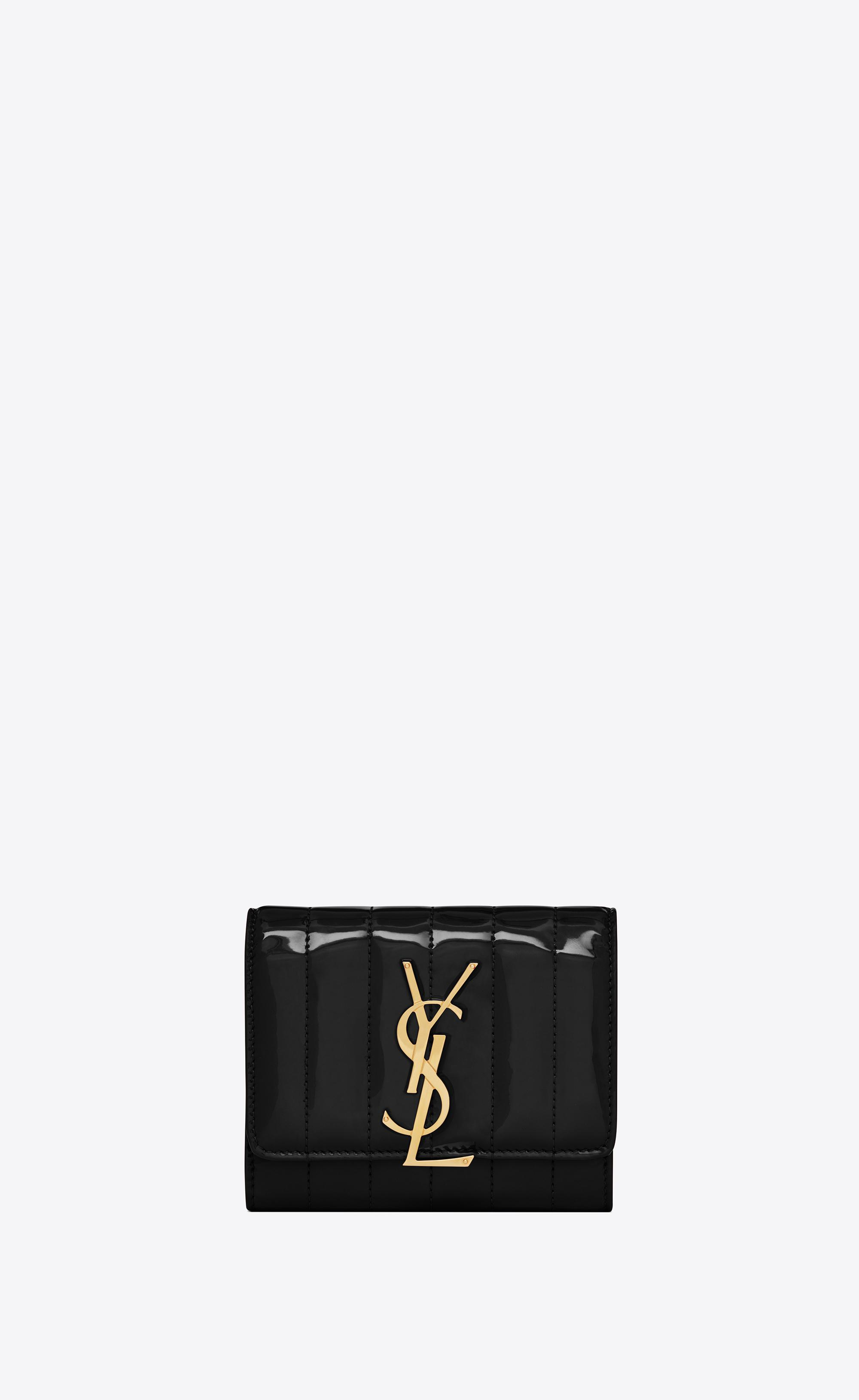 cdea038c606a Lyst - Saint Laurent Vicky Compact Tri-fold Wallet in Black - Save 23%