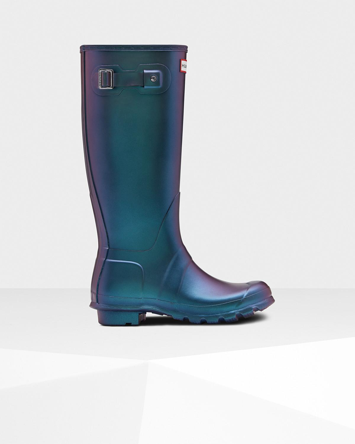 1f1c3dd165a Lyst - HUNTER Women s Original Nebula Tall Rain Boots in Blue
