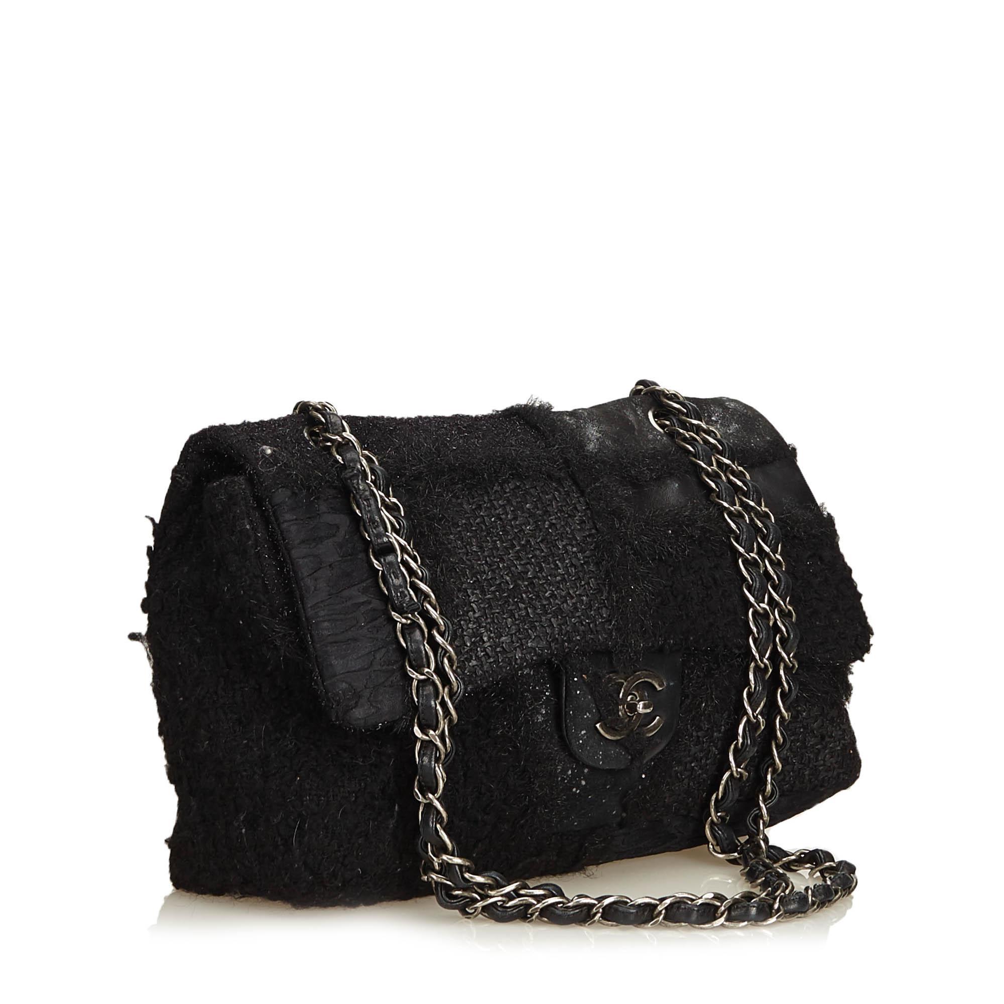 1ba847386ac Lyst - Chanel Jumbo Patchwork Flap Bag in Black