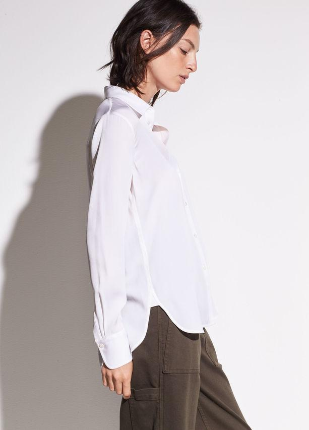 97a833eb419b0 Vince - White Slim Fitted Stretch-silk Blouse - Lyst. View fullscreen