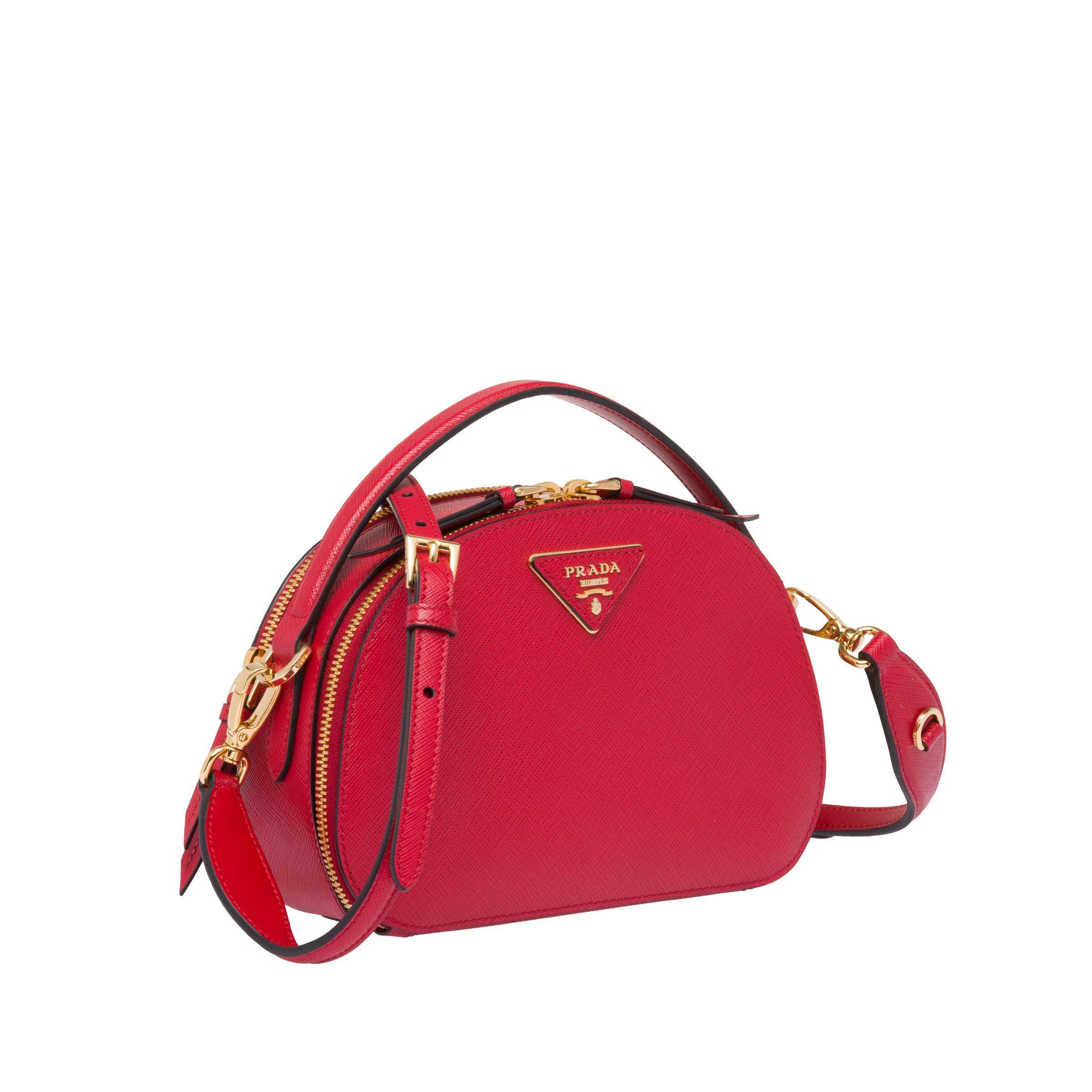 14fd866c7698d1 Prada - Red Odette Saffiano Leather Bag - Lyst. View fullscreen