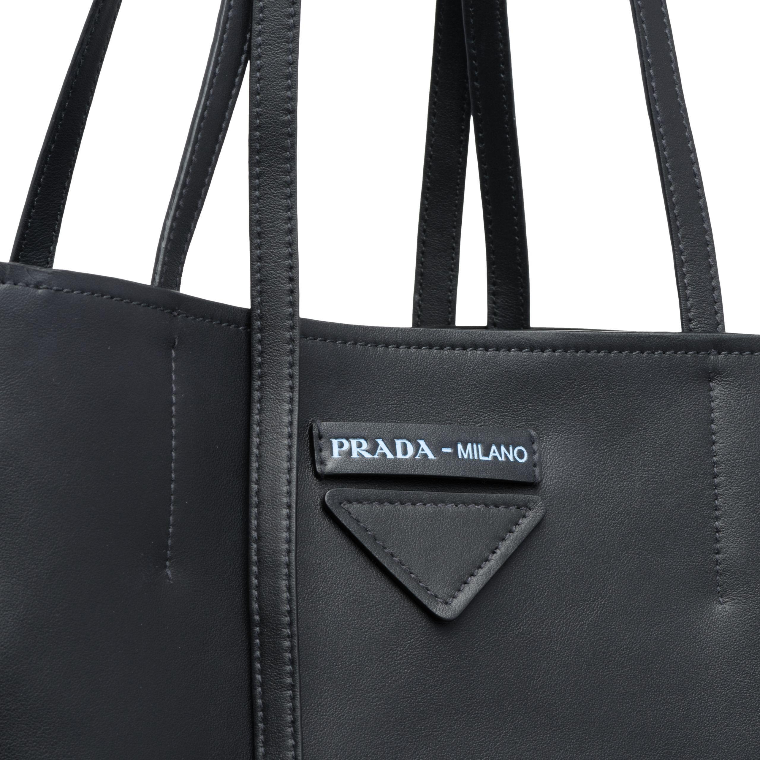 03d42c196562 Prada Concept Medium Leather Tote in Black - Lyst