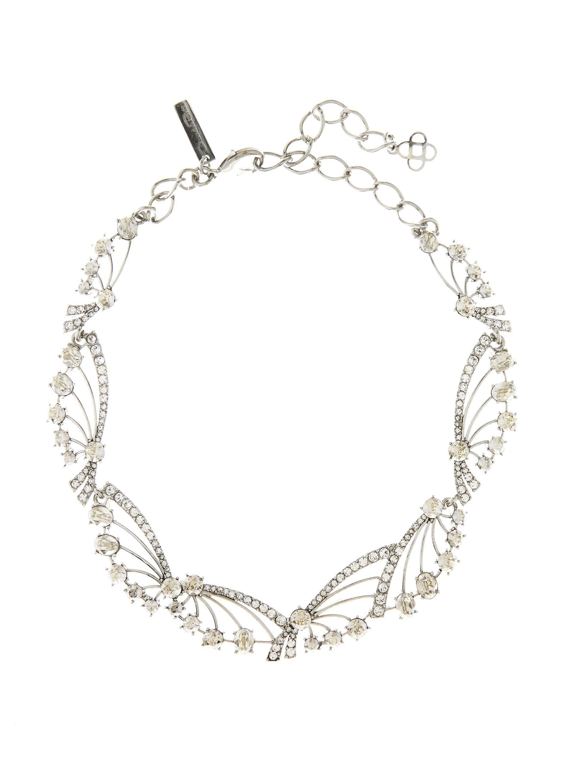 Oscar De La Renta Crystal Fan Necklace svRECJ