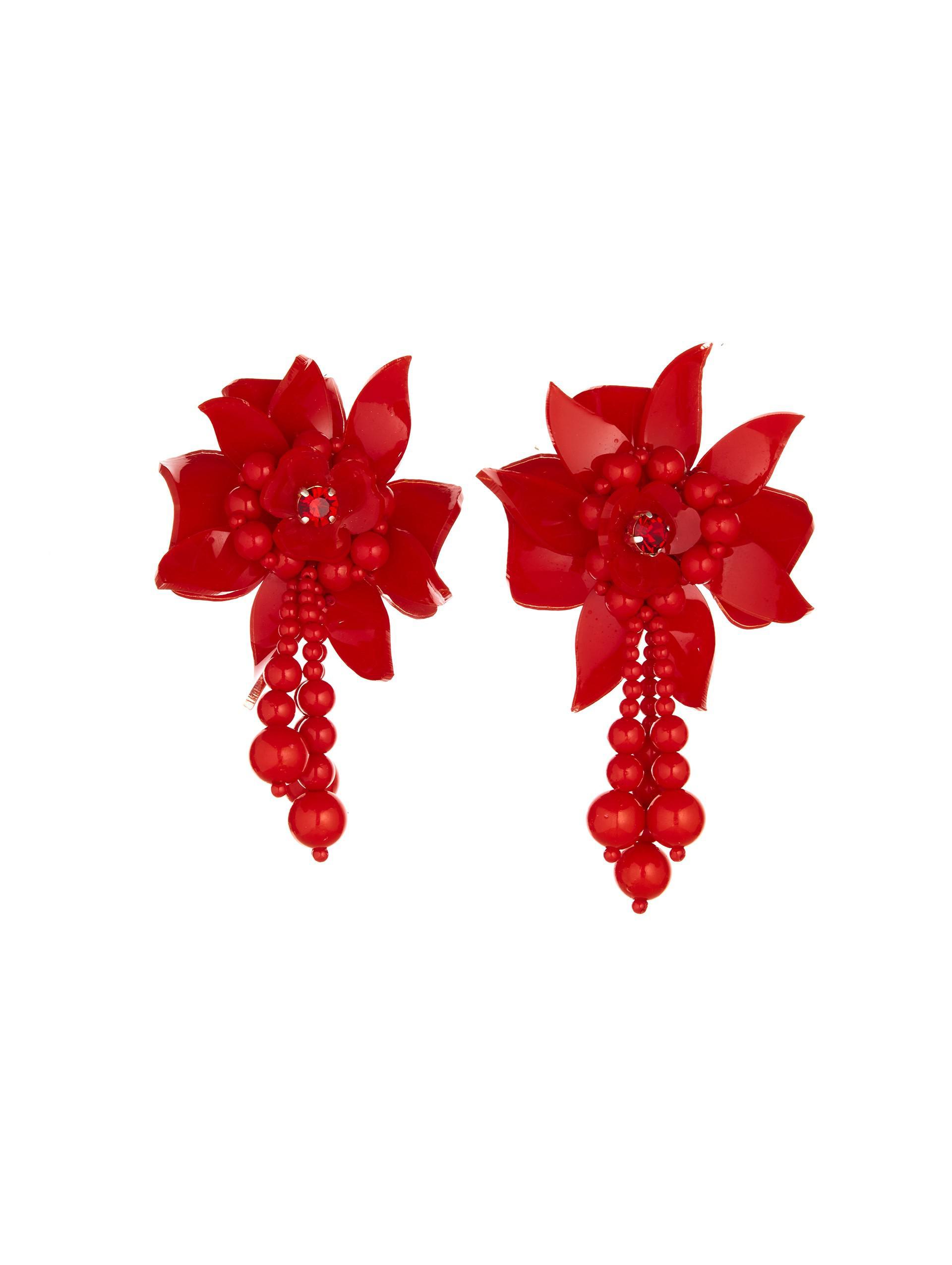 Oscar De La Renta Flower Field Beaded Acetate Clip Earrings - Red kkODHwd