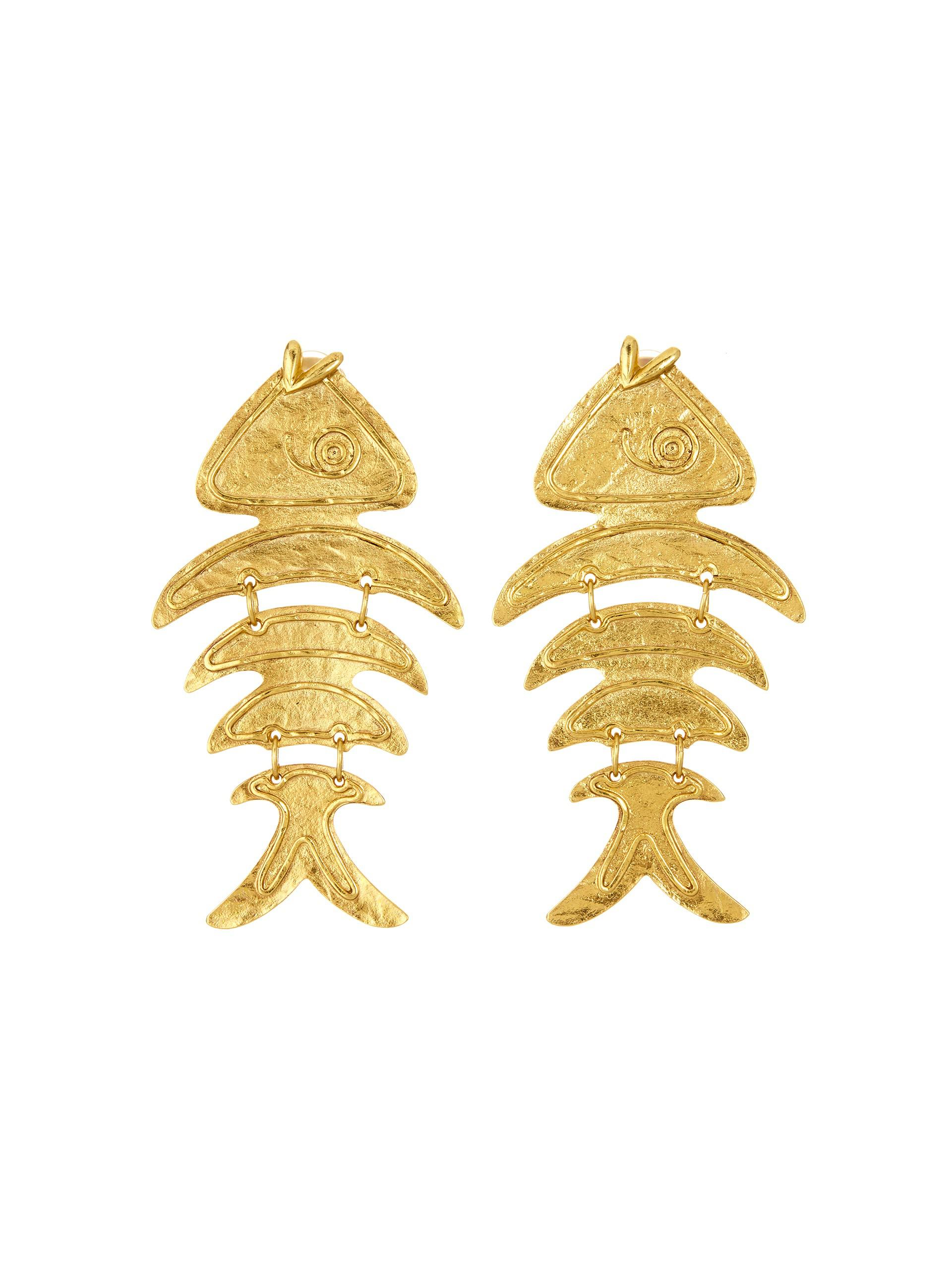 Oscar De La Renta Gold Bold Fish Earrings Antique silver Gz8v6HBVSd