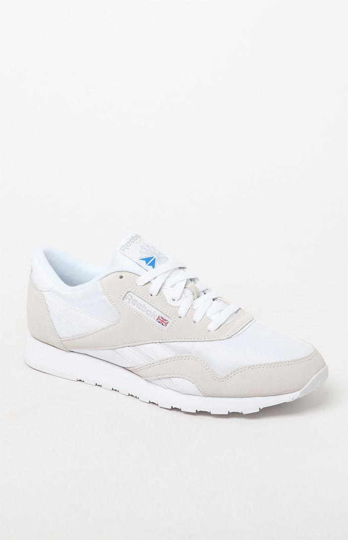 fc64c45add2 Lyst - Reebok Classic White And Grey Leather   Nylon Shoes in White ...
