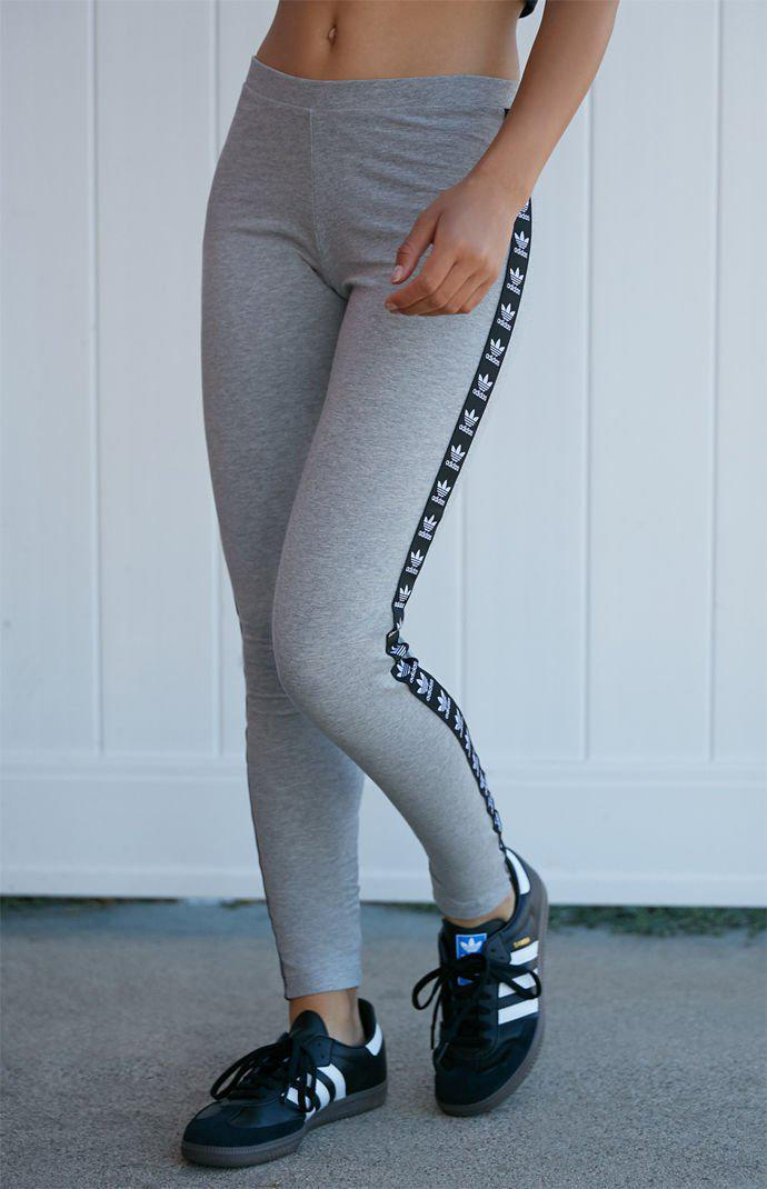 cd4a6c9db5cab Lyst - adidas Heather Grey Trefoil Taped Leggings in Gray