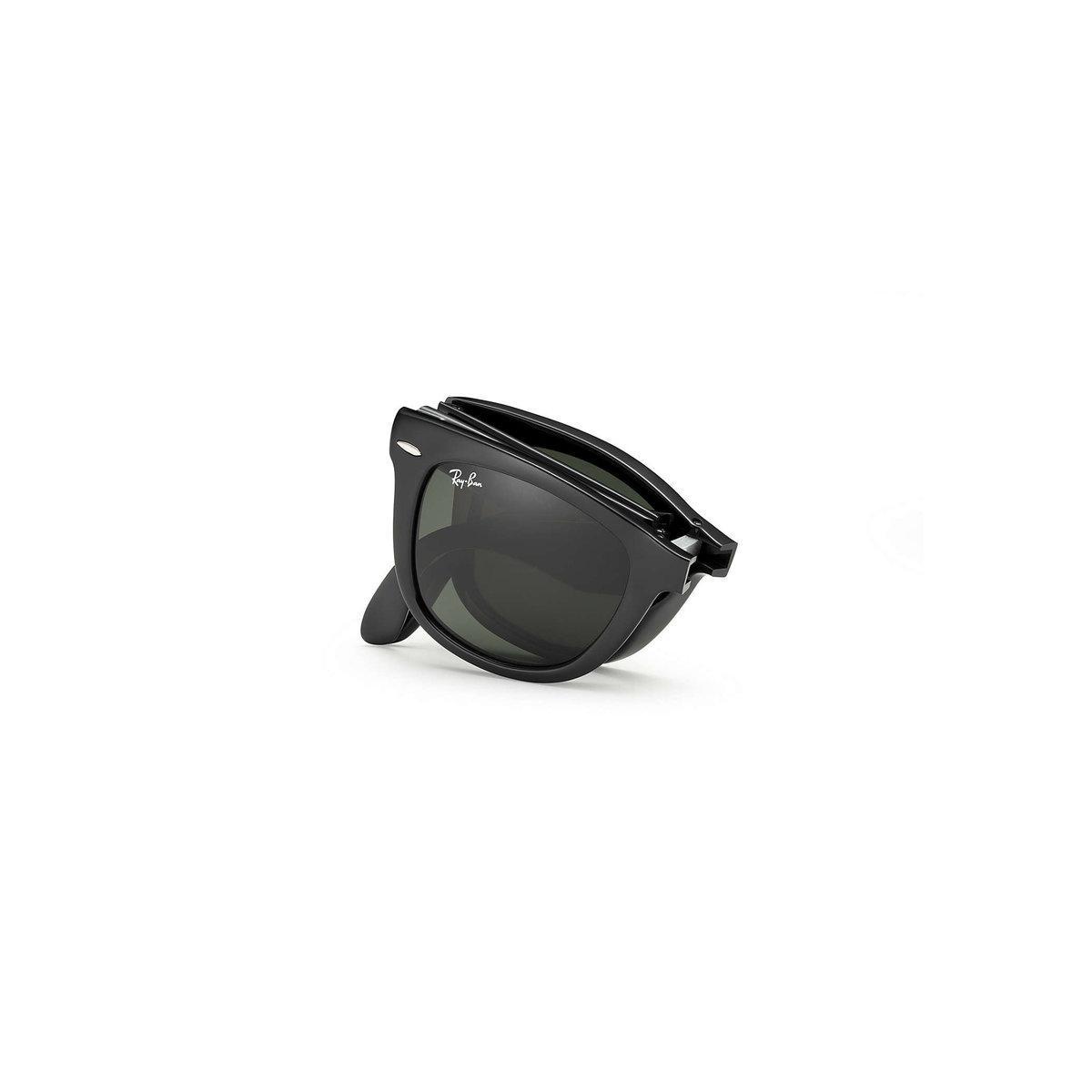 c402465902ee7 Ray-Ban - Black Wayfarer Folding Classic Sunglasses – Green Classic G-15  Lens. View fullscreen