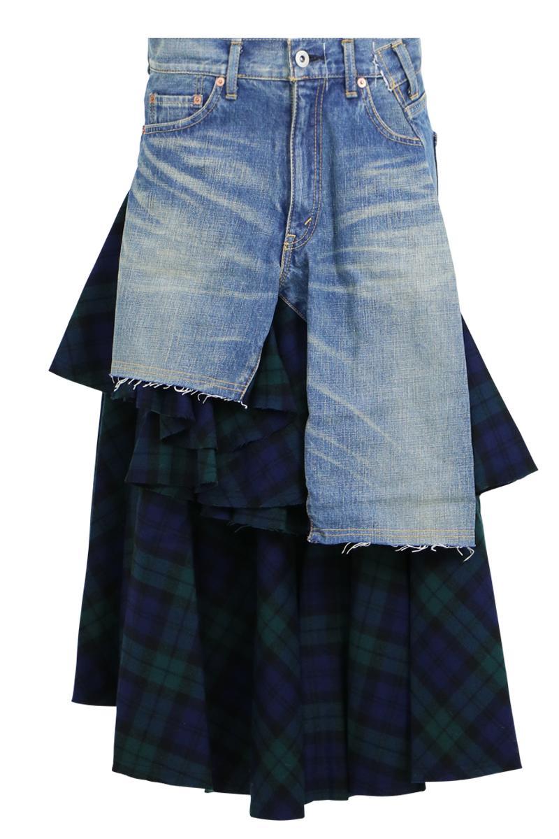 junya watanabe denim skirt with check panelling indigo