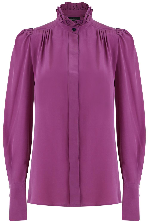 dfe1d4cbf711d Lyst - Isabel Marant L s Lamia Ruffle Neck Blouse Purple in Purple