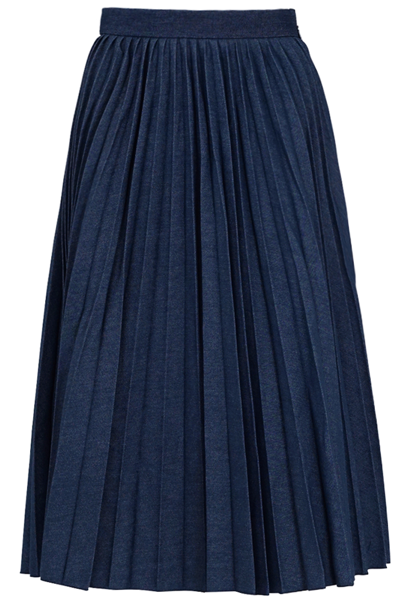 msgm pleated skirt blue denim in blue lyst