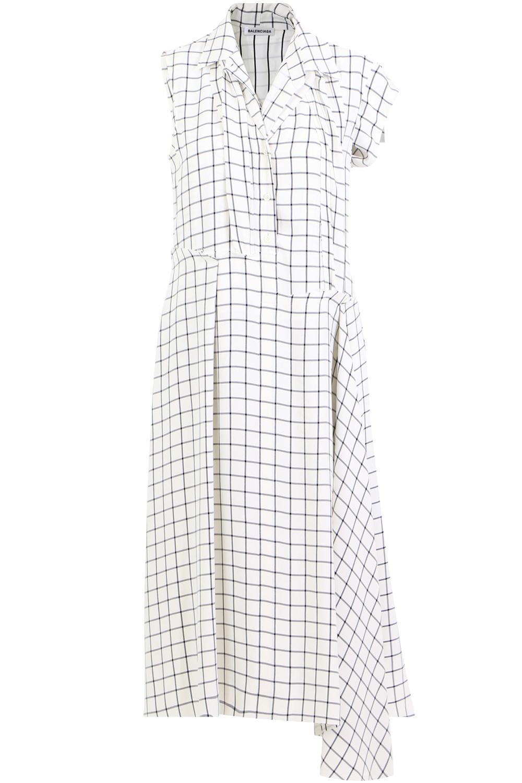 c87ac95e39ea Balenciaga Layered Check Shirt Dress White/black in White - Lyst