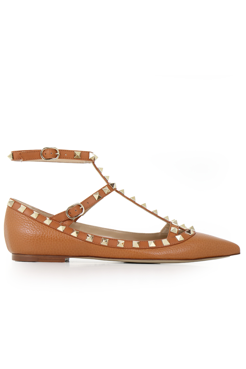 lyst valentino rockstud ballerina flats grained leather tan in brown. Black Bedroom Furniture Sets. Home Design Ideas