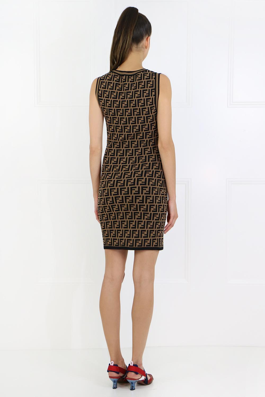 525622fee404 Fendi - Brown S less Ff Logo Knit Dress Tobacco black - Lyst. View  fullscreen
