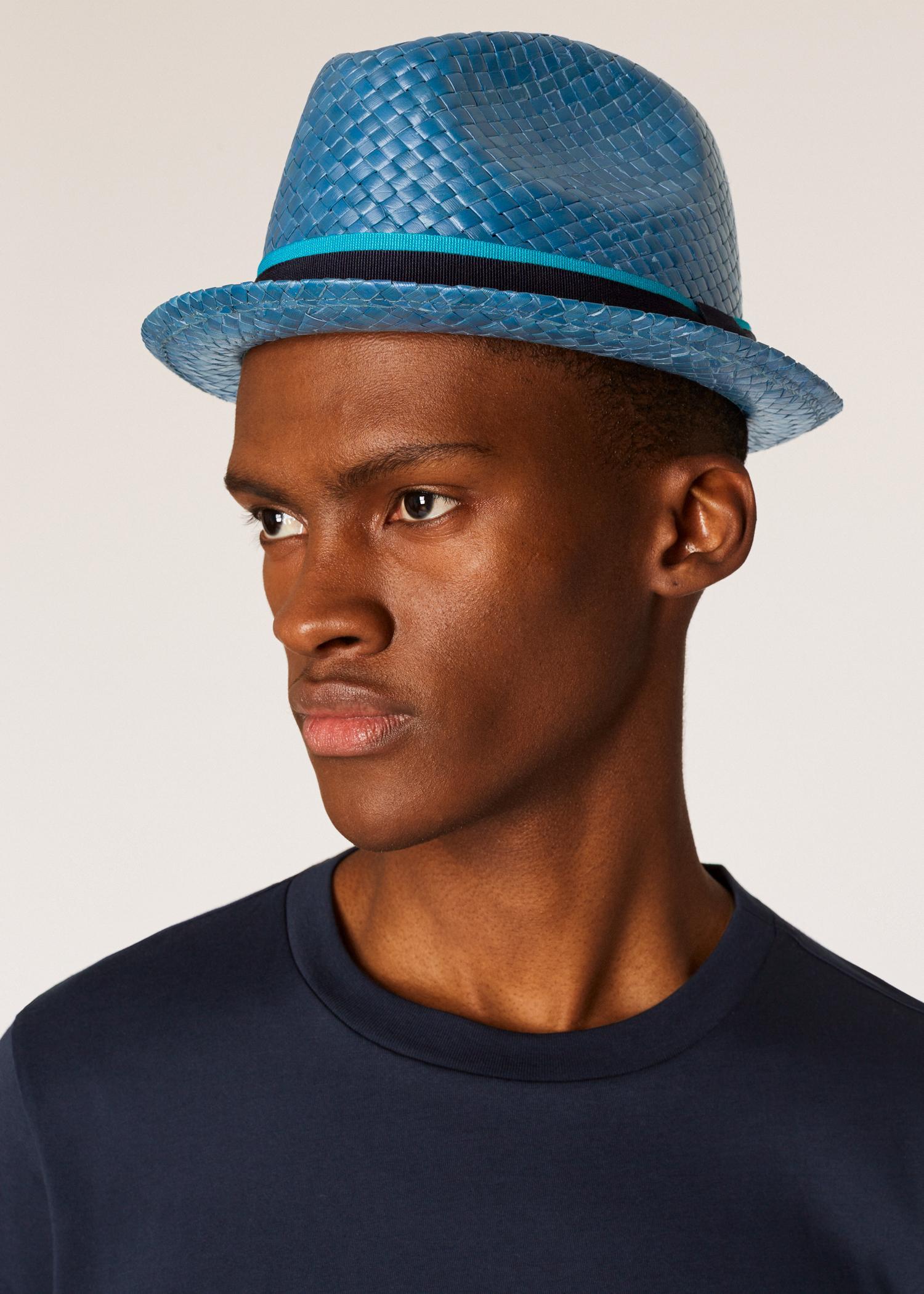 0e895e9462bf1d Lyst - Paul Smith Slate Blue Woven Trilby Hat in Blue for Men