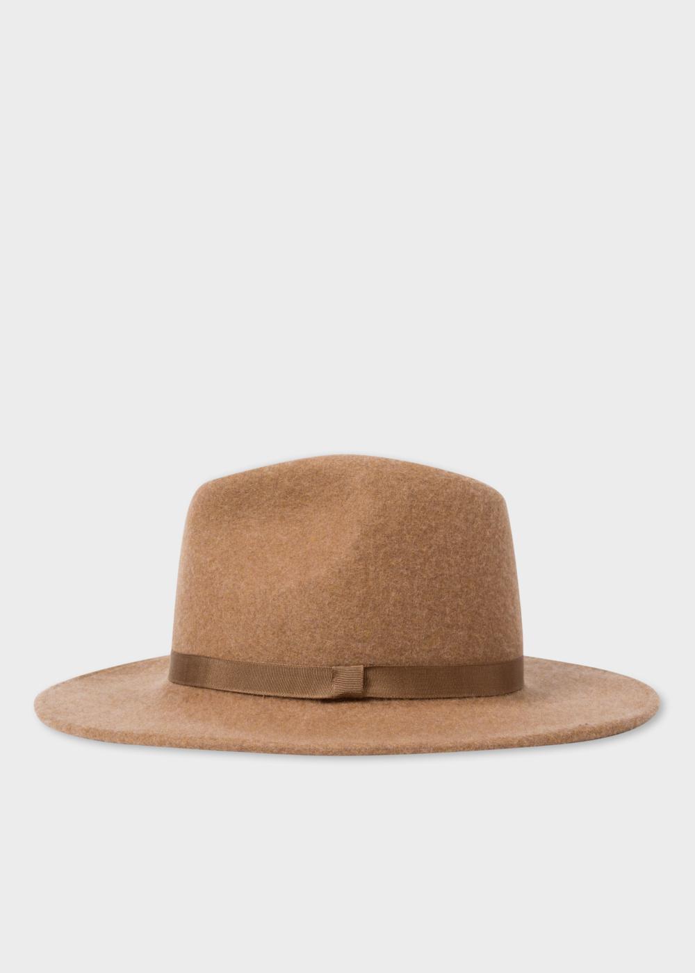 Paul Smith Women s Tan Lined Wool Fedora Hat in Brown - Lyst f9c31ebaedc