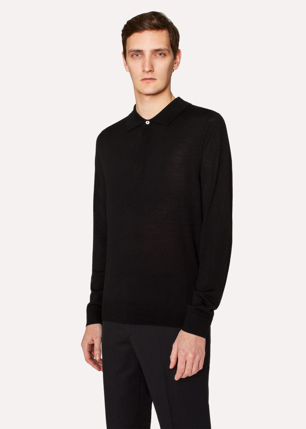 Paul smith men 39 s black merino wool long sleeve polo shirt for Merino wool shirt long sleeve