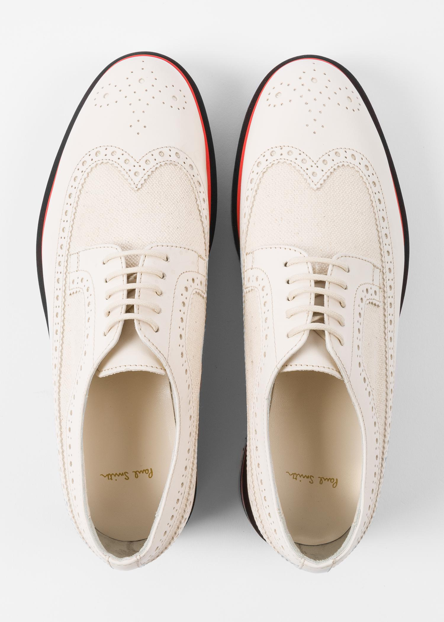 15ee887027 Paul Smith Off-White Leather 'Grand' Brogues With Striped Soles in ...