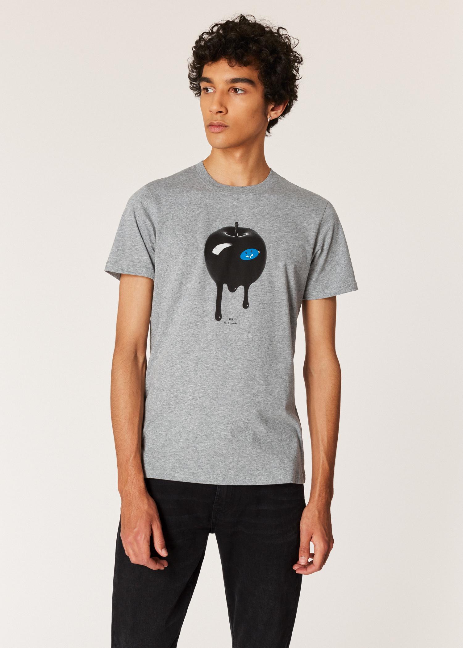 82e7348b60 Paul Smith. Men's Gray Slim-fit Grey Marl 'freddie And The Giant Apple' Print  Organic-cotton T-shirt