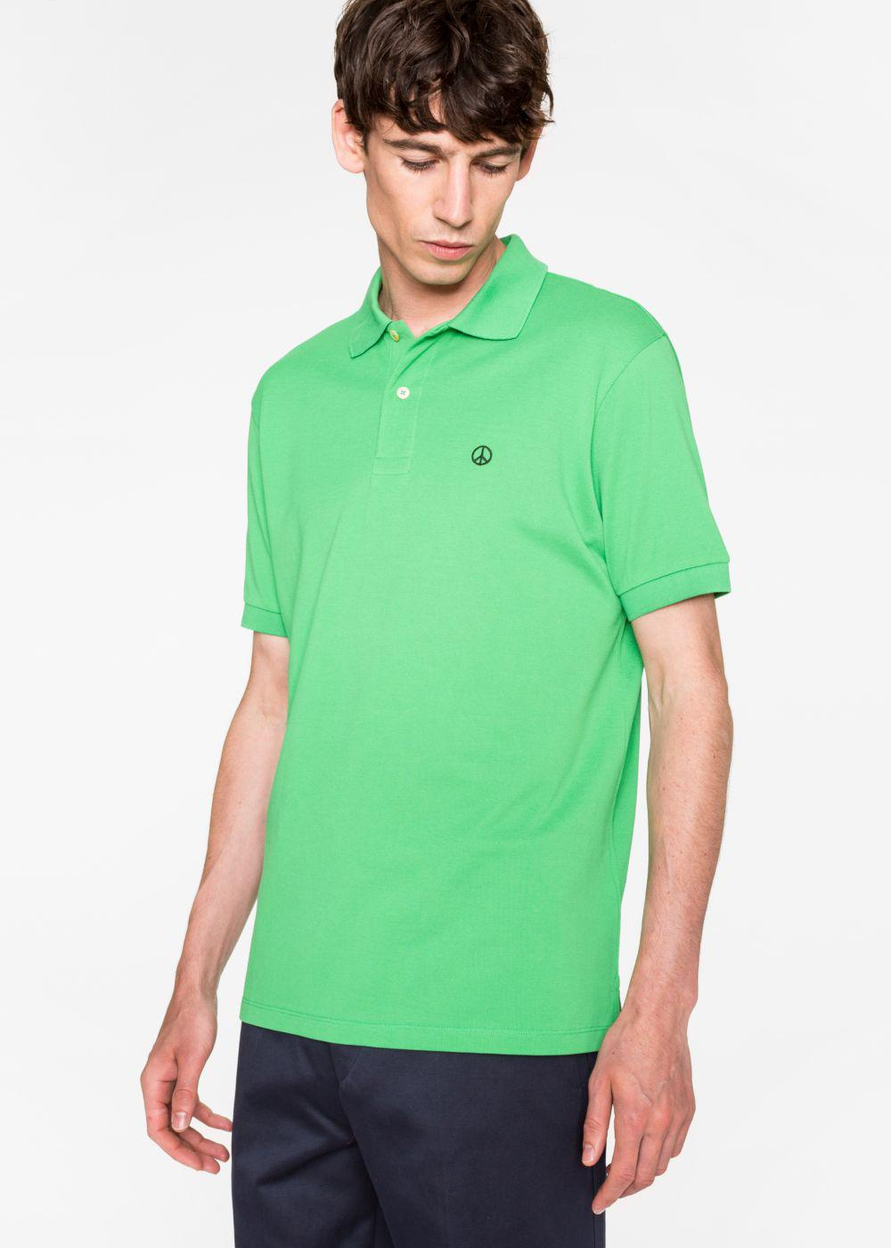 Lyst Paul Smith Men 39 S Slim Fit Green Cotton Piqu Polo