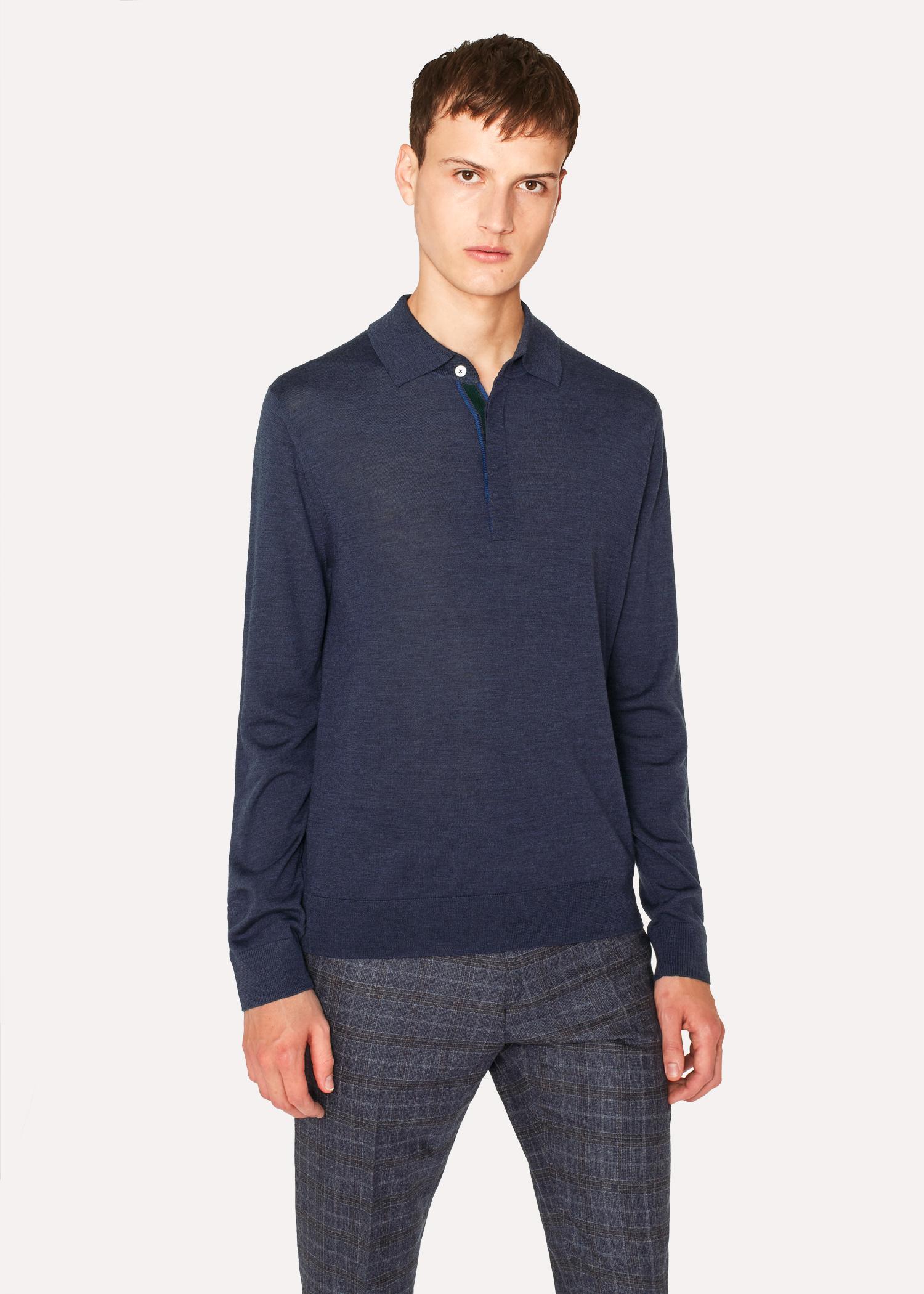 Paul smith slate blue merino wool long sleeve polo shirt for Long sleeve wool polo shirts