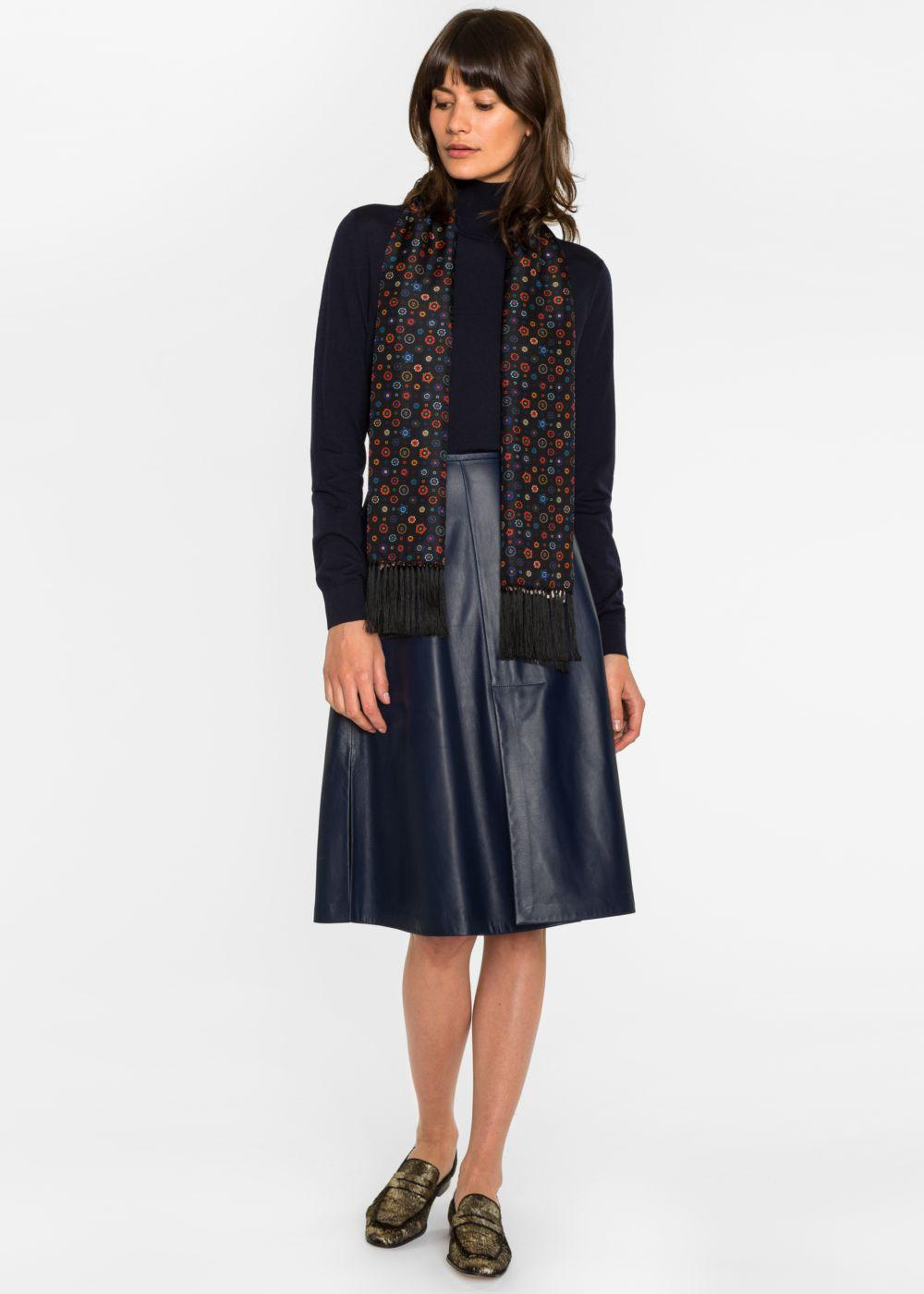bb9f58acf1 Paul Smith Women's Navy Nappa Leather Skirt With Vents in Blue - Lyst