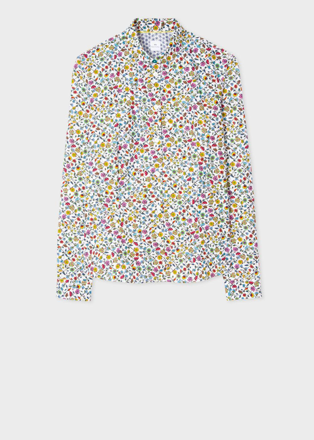 Paul smith women 39 s white 39 trellis floral 39 print shirt in for White floral shirt womens
