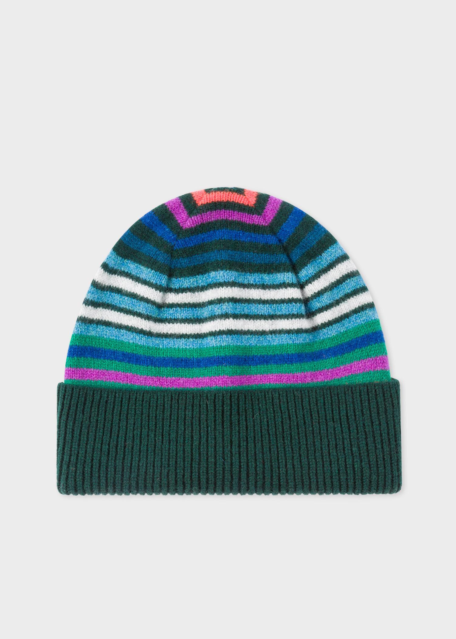 8ba95b50756 Lyst - Paul Smith Dark Green Striped Wool Beanie Hat in Green for Men